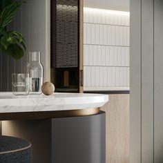 Caspian Hampton on Behance Home Interior, Interior Design Kitchen, Interior Architecture, Residential Architecture, Layout Design, Art Deco Kitchen, Joinery Details, Counter Design, Bar Counter
