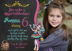 Madeline Hatter Ever After High Party Invitation birthday invite fairy tale Princess party Princesses Girl Chalkboard Card Printable
