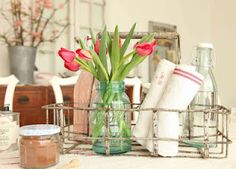 Lovely spring decor using vintage canning jars!