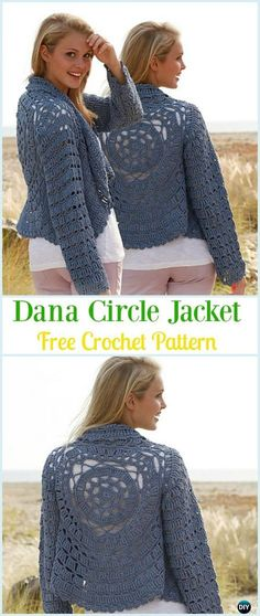 Crochet Dana Circle Jacket Free Pattern - #Crochet; Circle Vest & Sweater #Jacket; Cardigan Free Patterns