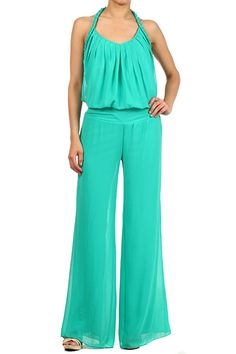 Halter Neck Jumpsuit With A Wide Leg
