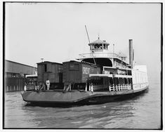 """TRANSPORT: Before auto ferries, a rail car carrier Circa """"Southern Pacific R. transfer boat Carrier at New Orleans. Old Photos, Vintage Photos, Detroit Cars, Shorpy Historical Photos, Steam Boats, Ferry Boat, Paddle Boat, Rail Car, New Orleans Louisiana"""