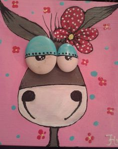 Funny girly donkey painted on wood with pebbles eyes