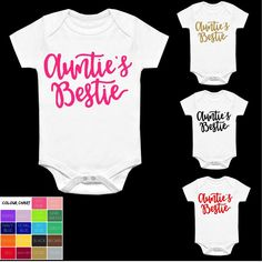 3419fbec0d86 AUNTIE S BESTIE VEST BABYGROW CLOTHING SHOWER GIFTS BOY GIRL SLOGAN BEST  AUNT Best Aunt