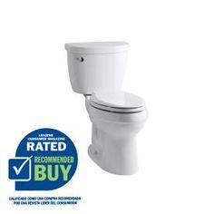 KOHLER Cimarron White 1.28 GPF High Efficiency WaterSense Elongated 2-Piece Toilet