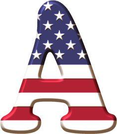 Alfabeto Decorativo: Alfabeto - Badeira dos Estados Unidos - PNG