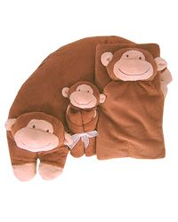 Angel Dear Monkey Gift Bundle, the lovey blankie; a pillow and a big napping blanket.  you can have each piece monogrammed for an additional $6.00 but the gift bundle alone is only $52