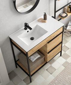 Welded Furniture, Iron Furniture, Steel Furniture, Bathroom Furniture Design, Bathroom Interior, Mini Bad, Washbasin Design, Modern Small House Design, Rustic Apartment