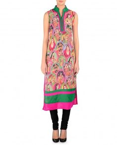 Multicolored Tunic with Mughal Printed