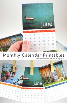 Month cards the size of post cards that you can hang from some twine.