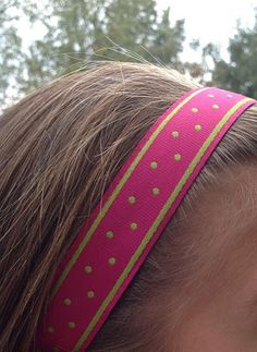 One Up Pink with Mini Green Dots Non Slip Headband