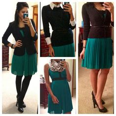 Green mini dress and black sweater fashion   Fashion World