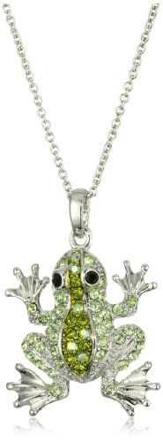 Andrew Hamilton Crawford Gold and Green Baby Frog Necklace