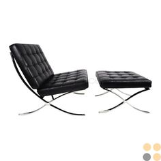 Black Barcelona Chair and Ottoman, I want a Barcelona chair one day...