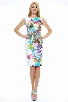 Rochie conica, decolteu arcuit, imprimeu flori. Lily Pulitzer, Casual, Dresses, Fashion, Tricot, Gowns, Moda, Fashion Styles, Lilly Pulitzer