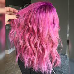 Gorgeous pink locks. Pink hair. Magenta hair.