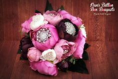 Purple, pink and white peonies with a glittery brooch centre - just proving that bling is always a good idea! www.nansbuttonboxbouquets.com.au