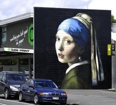 The Girl with the Pearl Earring Street Art by Owen Dippie in New Zealand