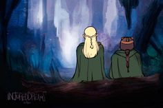 """""""Promises Kept"""" This was meant to be them walking into the Glittering caves but they stopped at the entrance and and shared a moment. I love these two so much :'V This is a GIF in case it doesn't. Legolas And Gimli, Thranduil, Bagginshield, Jrr Tolkien, Action Poses, Lord Of The Rings, Middle Earth, Stargazing, Lotr"""