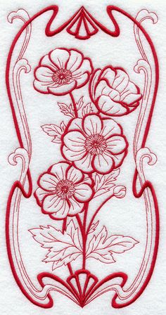 Art Nouveau Anemone (Redwork) from EmbLibrary.com