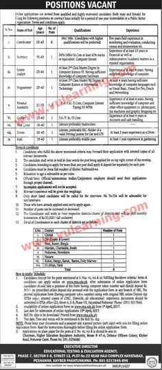 #  Title  Details  1  Jobs Location  Pakistan  2  Government / Private  Government  3  FPSC / PPSC / NTS / Others  Others  4  Published Date  31 Mar 2017 Friday  5  Last Date to Apply  15 Apr 2017 Saturday  6  Newspaper Name  The News  Educational Testing & Evaluation Agency KPK Jobs 2017 ETEA Latest  Vacancies / Positions:-  8 Coordinator  1 Secretary  1 System Analyst  1 Programmer  2 Personal Assistants  1 Naib Qasid  1 Cashier  1 Driver  1 Mali  Application Form available…