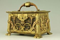 fawnvelveteen: Art Nouveau jewerly box with womans profile and floral decoration, 1890