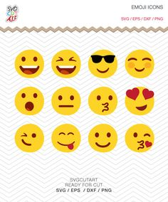 Emoji Social Icons Emoticons Facebook SVG PNG DXF eps Font, Vinyl Decal Cut File Cricut Design Silhouette studio by SvgCutArt on Etsy