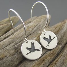 The Elegant Crane Sterling Silver Earrings handmade by Beth Millner Jewelry