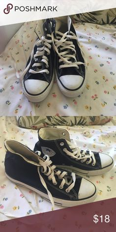 High top black converse High top black converse. Worn twice. Only sign of wear is on the front white part as shown in first photo. Size 9 women Converse Shoes Sneakers