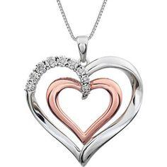 Two-Tone Diamond Heart Necklace| JD Jewelers | Midland and Gladwin, Mi | jdjewelersllc.com
