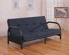 """Futon CS2345 Description : This simple casual futon frame will give your spare bedroom or den a stylish look. The sleek metal arms gently arc into simple tubular legs, with a smooth frame all in a Satin Black metal finish. Easily convert from a couch for lounging, to a comfortable bed at night, ideal for overnight guests. Make the most of your space with this stylish futon. Features : Color : Glossy Black Dimensions : Futon Frame : 54""""W X 78.50""""D X 33.50""""H"""