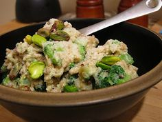 Savory Oatmeal with broccoli, parmesan, and pistachios