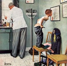 """At the doctor's. Cover of """"The Saturday Evening Post"""" (March is one of artworks by Norman Rockwell. Artwork analysis, large resolution images, user comments, interesting facts and much more. Norman Rockwell Prints, Norman Rockwell Paintings, Theo Van Gogh, Frank Stella, Winslow Homer, Max Ernst, Georges Braque, Alphonse Mucha, Peintures Norman Rockwell"""