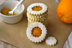 Linzer cookies with homemade orange marmalade are pretty cookies perfect for the holidays. It's a good way to use your winter citrus, too!
