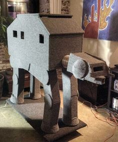 That's right, it's an AT-AT cat house.    #starwars #kitties