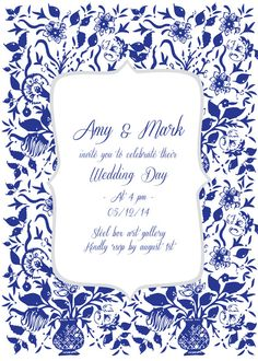 Custom Wedding Invitation - country folk art floral vase pattern via Etsy