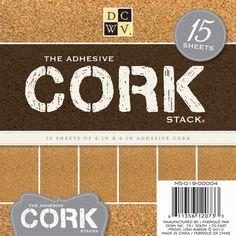 "Adhesive Cork Stack 6""X6"" 15/Sheets, Cardstock & Scrapbooking Paper"