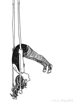 Hang in There digital print drawing trapeze by HileyRemarkable