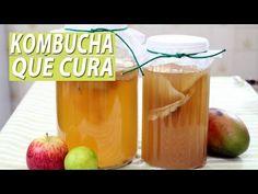 KOMBUCHA: probiótico que cura | PRIMEIRA FERMENTAÇÃO com chá verde | Parte 1 - YouTube Detox, Low Carb, Pasta, Vegetables, Drinks, 1, Youtube, Food, Water Recipes