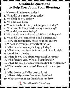 Gratitude Questions to Help You Count Your Blessings