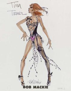 Tina Turner 1977 A costume design by Bob Mackie for Tina Turner for her 1977 concert tour, felt pen, signed, the design shows Tina Turner wearing a black laced costume wearing a hot pink heart in the front -- Theatre Costumes, Cool Costumes, Dress Sketches, Fashion Sketches, World Of Fashion, Fashion Art, Fashion Design, Katy Perry Dress, Ann Margret