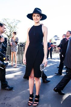 Wearing Dion Lee and Dion Lee + Hatmaker hat at Derby Day at Royal Randwick.