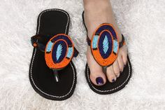 MADE in KENYA - Beaded Sandals - Ladies - Women - US Size 8-8-1/2 - Black Leather-Shield Design-light and dark blue/Orange Beading