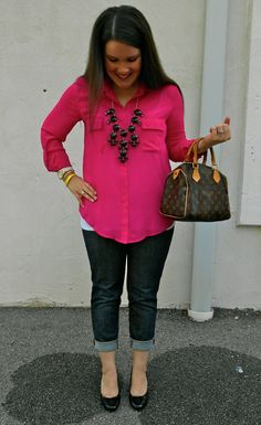 still being molly: fuschia OVI pocket blouse, cuffed skinnies, black bubble necklace, and black heels