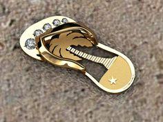 14k gold flip flop, with .25 diamonds  www.duckbandbrand.com