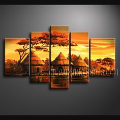 Enchant Contemporary Wall Art High Quality Oil Painting For Bed Room Africa Landscape. This 5 panels canvas wall art is hand painted by Bo Yi Art Studio, instock - $158. To see more, visit OilPaintingShops.com