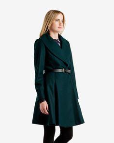 Flared skirt wool coat - Dark Green   Jackets & Coats   Ted Baker
