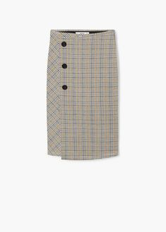 Crossover design Prince of Wales check print Elastic waist Button up Outfit Zusammenstellen, Glen Plaid, Basic Outfits, Wardrobe Basics, Prince Of Wales, Trends, Mango, Skirts, Design