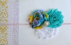 Shabby Flower Headband with Pearl Embelishment