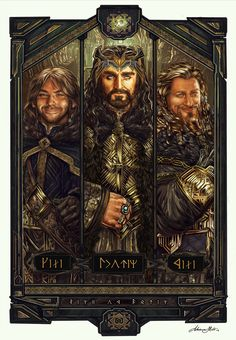 "This awesome triptych featuring Kili, Thorin, and Fili is titled ""The Line of Durin"" by Adriana Melo. If you are interested in a print, you can contact her through her Tumblr."